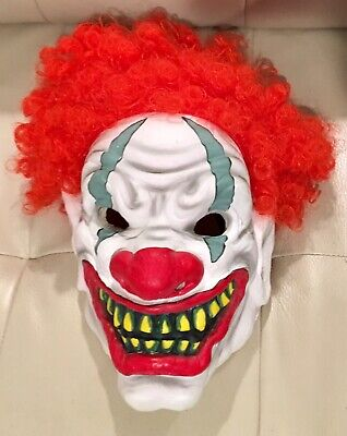 Scary Clown Latex Mask Adult Evil IT Halloween Fancy Dress Red Hair New