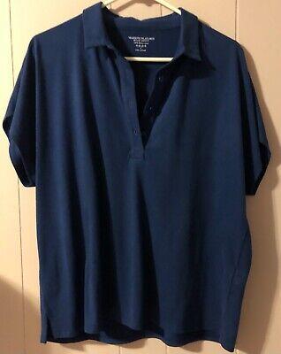 Majestic Filatures Paris 100% Deluxe Cotton Blouse Top Royal Blue Sz 4 - ExLg/Lg