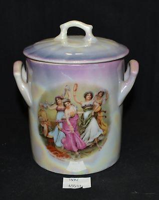 ThriftCHI ~ Crown Victoria Austria Ceramic Biscuit Jar w Carnival Dancers Design