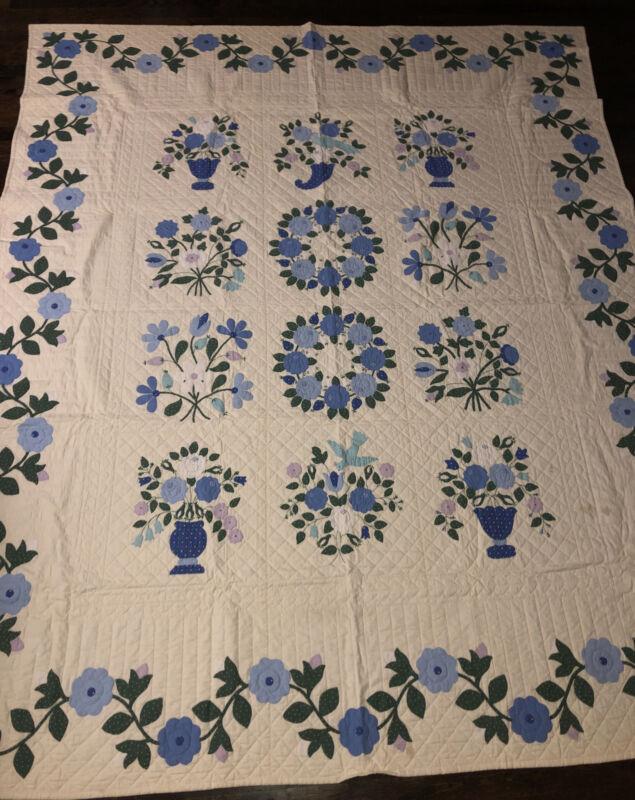 Stunning Antique Hand-Stitched Floral Quilt