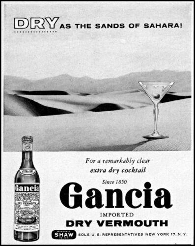 1955 Gancia dry vermouth Sahara desert bottle glass vintage art Print Ad adL66