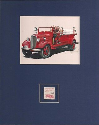 VINTAGE FIRE TRUCK - MATTED ART PRINT WITH POSTAGE STAMP - 0009