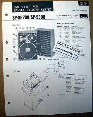 Usado, Original Part List for Sansui Speakers SP-X9700, SP-9300 ! segunda mano  Embacar hacia Argentina