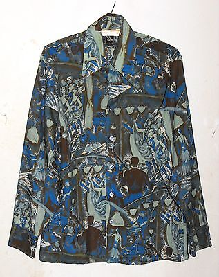 Vintage 1970's DEJE Men's Disco Long Sleeved Shirt, Medium, Butterfly Collar, M