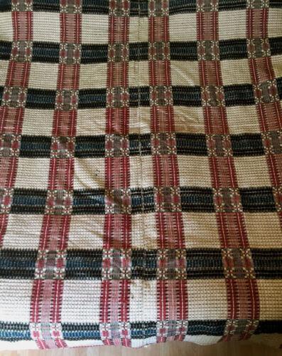 "Antique Woven Linen Wool Coverlet Red Blue Black 2 Panel Reversible 70"" x 99"""