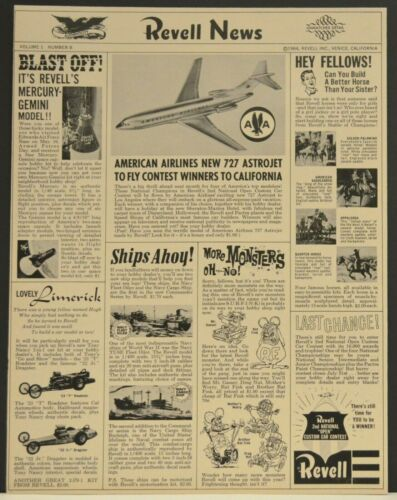 1966 Revell News Print Ad American Airlines 727 Mercury Gemini Space Model