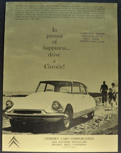 1964 Citroen Sales Brochure Sheet DS 19 ID 19 Sedan Excellent Original 64
