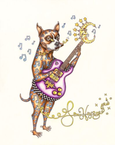 BOXER PLAYING GUITAR Jamie Hayes signed & numbered DOG MUSIC NOTES, MOON