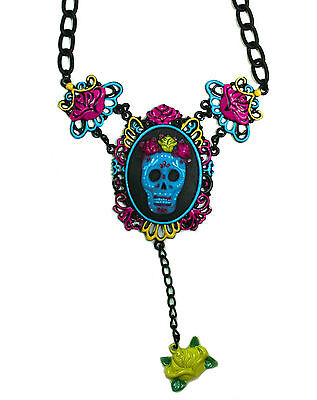TOO FAST CAMEO NECKLACE SUGAR SKULL (B10C)