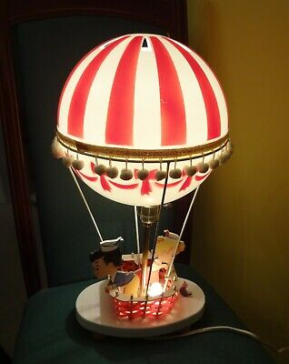Vintage DOLLY TOY CO. HOT AIR BALLOON LAMP Table Night Light Wood Plastic - Hot Air Balloon Toy