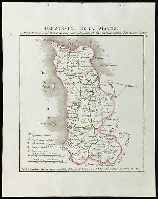 1802 - Antique Map Department of the Sleeve - Chanlaire. France
