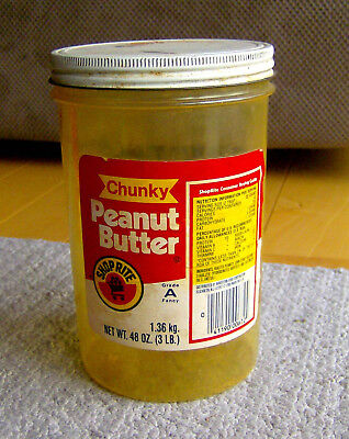 RARE vintage 1980 SHOP RITE grocery store PEANUT BUTTER early plastic jar FOOD