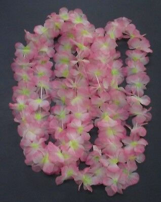 4 Matching Hawaiian Style Leis Pink Floral Artificial Materials Necklaces NEW - Artificial Hawaiian Leis