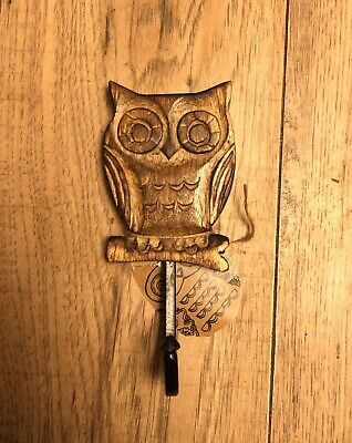 OWL ON BRANCH HOOK WOOD WOODEN SASS & BELLE R J B STONE HANGER DOOR WALL SINGLE Gem Wall Hook