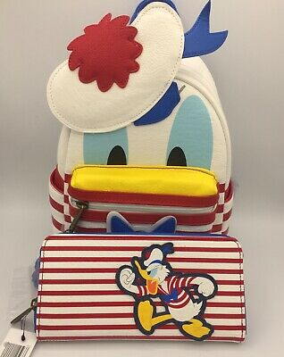 NWT! Loungefly Disney Cruise Line Donald Duck Mini Backpack & Wallet Americana