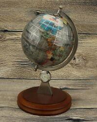 World Globe Executive Desktop Clock Semi-Precious Inlaid Stone France