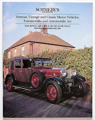 Sotheby's Auction Catalogue: Veteran, Vintage and Classic Motor Vehicles, Automo