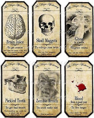 Halloween Steampunk apothecary bottle label stickers set 6 scrapbooking glossy