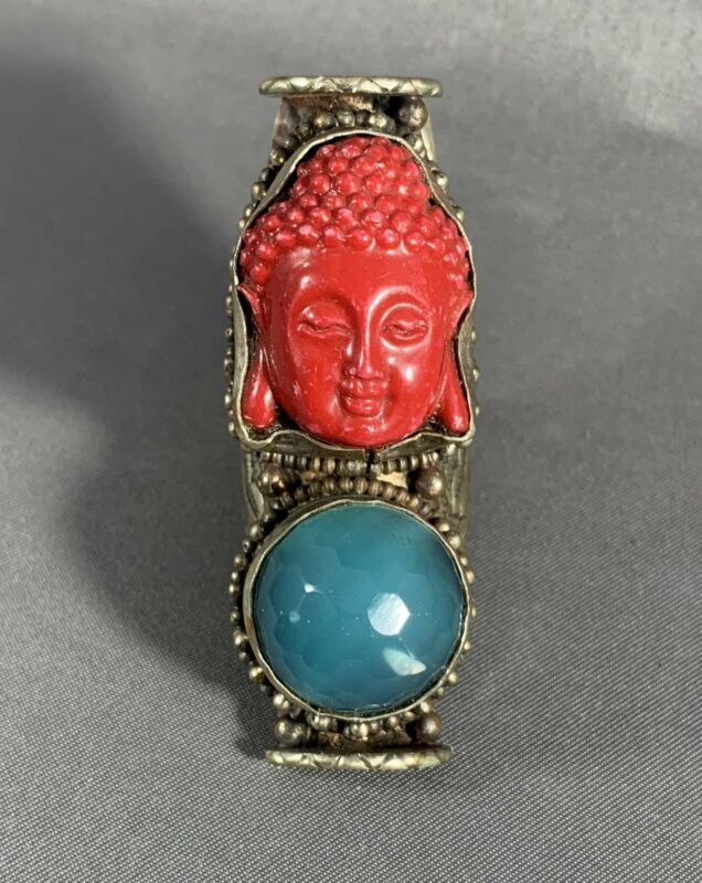 Tibetan Ring Red Buddha Head Blue Faceted Accent Metal Repousse Jewelry