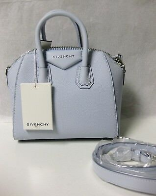 Baby Goat Leather - $1790 Givenchy AUTH NEW Baby Blue Goat Grained Leather Antigona Mini Duffel Bag