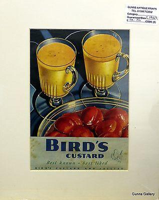 Original Vintage Advertisement mounted ready to frame Birds Custard c1949