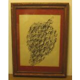 Antique Watercolor Painting ABSTRACT in Black & White SIGNED Flo Kehoe NR!!