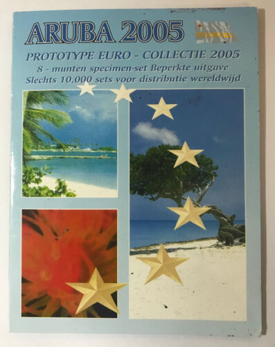 Aruba 2005 Prototype Euro 8 coin set in orig packaging-Turtle on 1&2 Euro coins