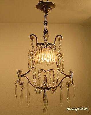 wunderschöne Jugendstil-Deckenlampe, Frankreich um 1920 - Kristallbehang -