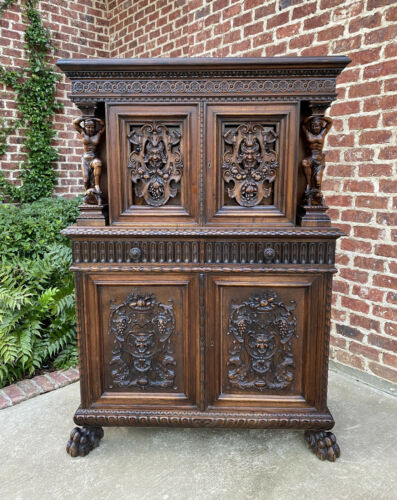Antique French Renaissance Revival Walnut Chest Cabinet Apothecary Jewelry
