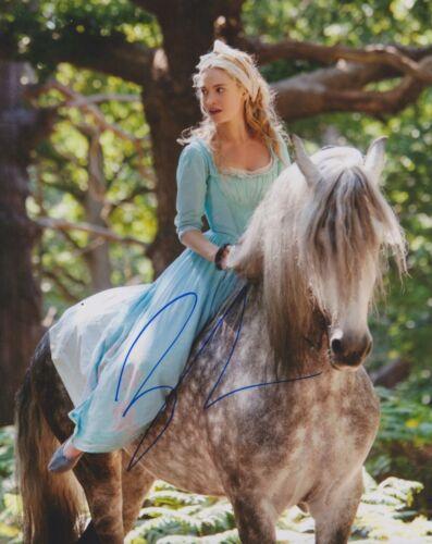 Lily James Signed Cinderella 10x8 Photo AFTAL