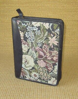 Compact Franklin Covey Black Leather Tapestry 1.25 Rings Plannerbinder