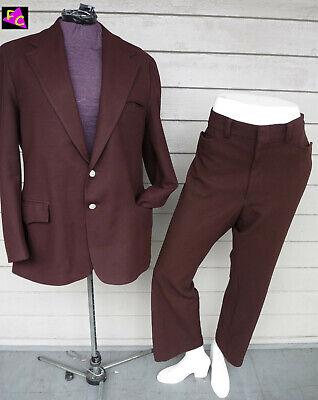 MENS 60s 70s BROWN PLUS XL 42 44 46 SUIT POLYESTER DISCO FUNK BEATNICK 2 PIECE - 70s Suit