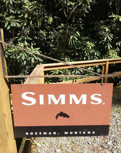 Simms Hanging Metal Sign with hanger. circa 2005