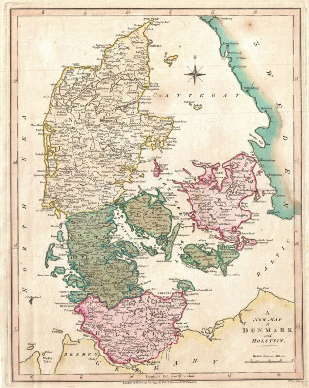 1794 Wilkinson Map of Denmark and Holstein
