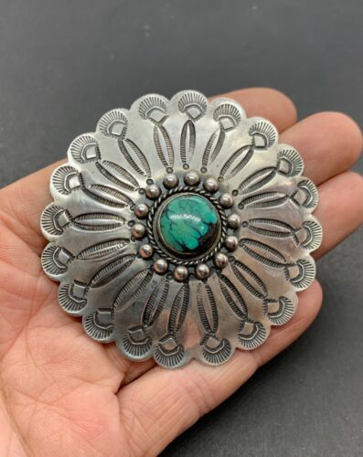 Vintage Navajo Large Sterling Silver Green Turquoise Stamped Concho Pin Brooch