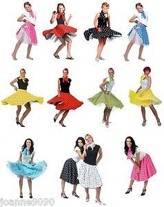 Ladies-Womens-Girls-1950s-Rock-n-Roll-Polka-Dot-Dance-Skirt-Fancy-Dress-Costume