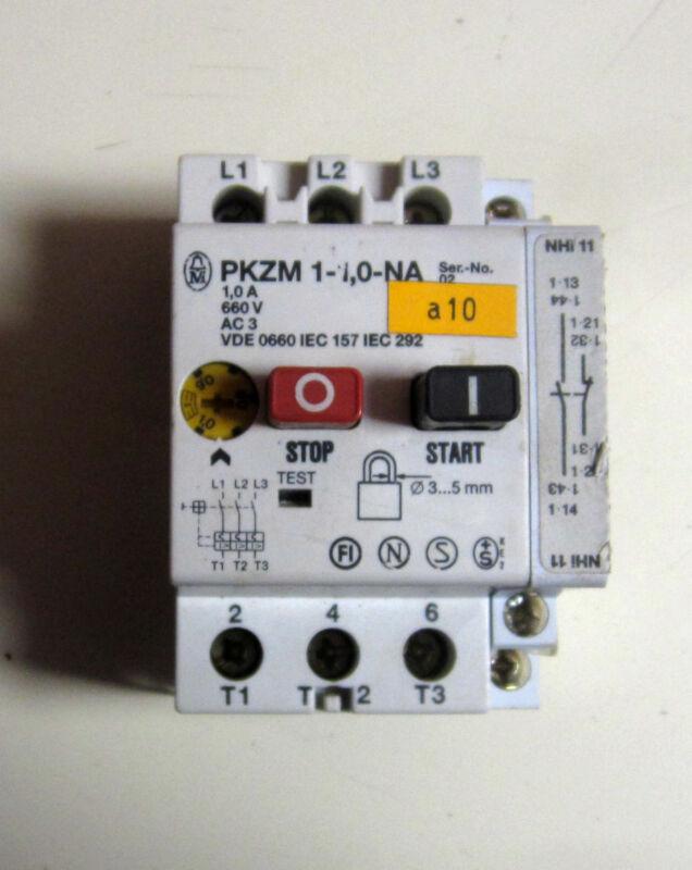 KLOCKNER MOELLER MANUEL MOTOR STARTERCONTROLLER PKZM1 1-0-NA 1AMP NHiLL