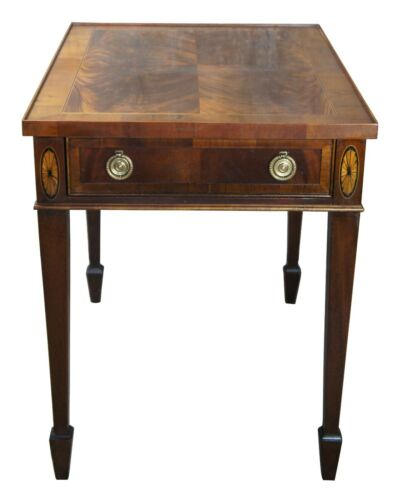 Heckman Copley Place Inlaid Flame Mahogany Sheraton Style End Side Accent Table