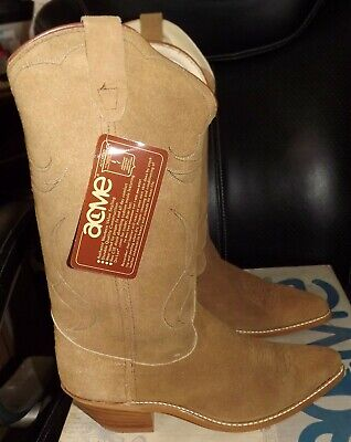 New Acme Men's Western Boots 4661 Size 9.5 D Roughout Cowboy Camel Leather