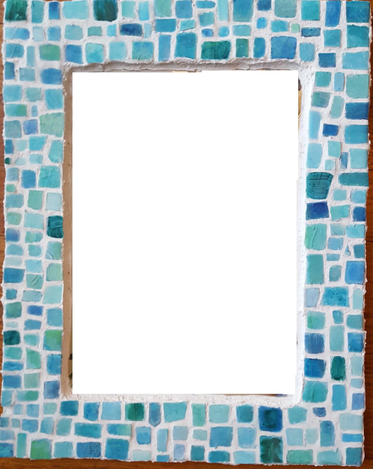 """Bathroom Mosaic Mirror - Hand Made - 14"""" x 11"""""""