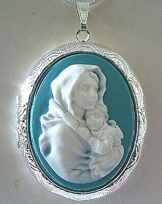 VIRGIN MARY w/ BABY JESUS Blue Cameo SILVER PLATED LOCKET NECKLACE Religious