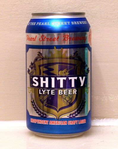 **sharp SHITTYLYTE Lager beer can from La Crosse, WI