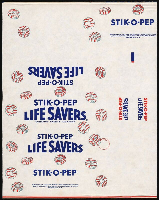 Vintage wrapper LIFE SAVERS Stik O Pep candy pic Port Chester New York n-mint
