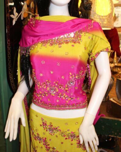 Fancy India Ladies Girls Lehenga Choli Saree 3 Piece Set Pink Chartreuse Beading