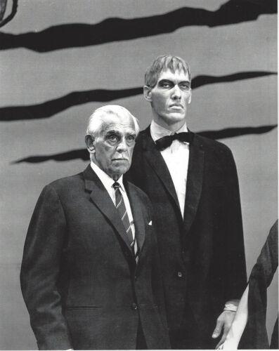 Boris Karloff with Adams Family Lurch 8x10 black and white  photo