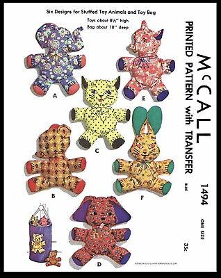 McCall 1494 Fabric Sewing Pattern 6 Stuffed Animals 8.5