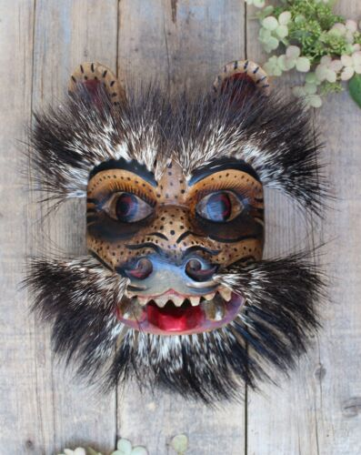 Tiger / Jaguar Mask Boars Hair Hand Painted Handmade Guerrero Mexican Folk Art