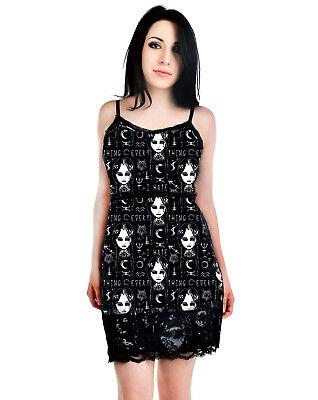 Rat Baby Goth Emo Lolita Dark Magic & Wednesday Addams Black Mini Bodycon Dress (Wednesday Addams Kleid)