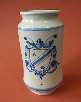 Fayence Albarello mit blauem Wappen Dekor, Spanien ? 18. / 19. Jh