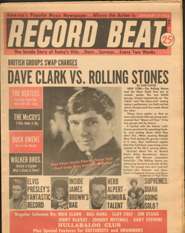 Record Beat Paper-Jan. 27 1966 Dave Clark vs. Rolling Stones-----11